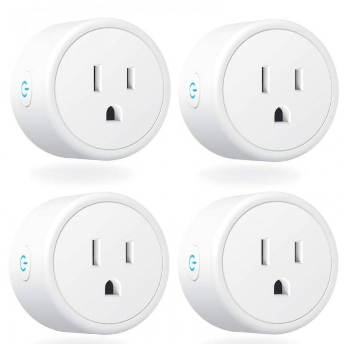 4pcs WIFI Mini Smart Plugs Socket with Alexa / Google Home & IFTTT / Remote Control / Timer Function Switch  - US Plug