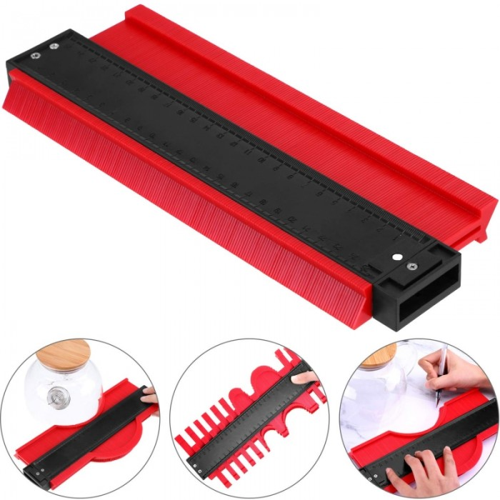 10 inch Contour Profile Gauge Multi-functional Contour Gauge Duplicator Edge Shaping Measure Ruler Contour Measuring Tools - Red