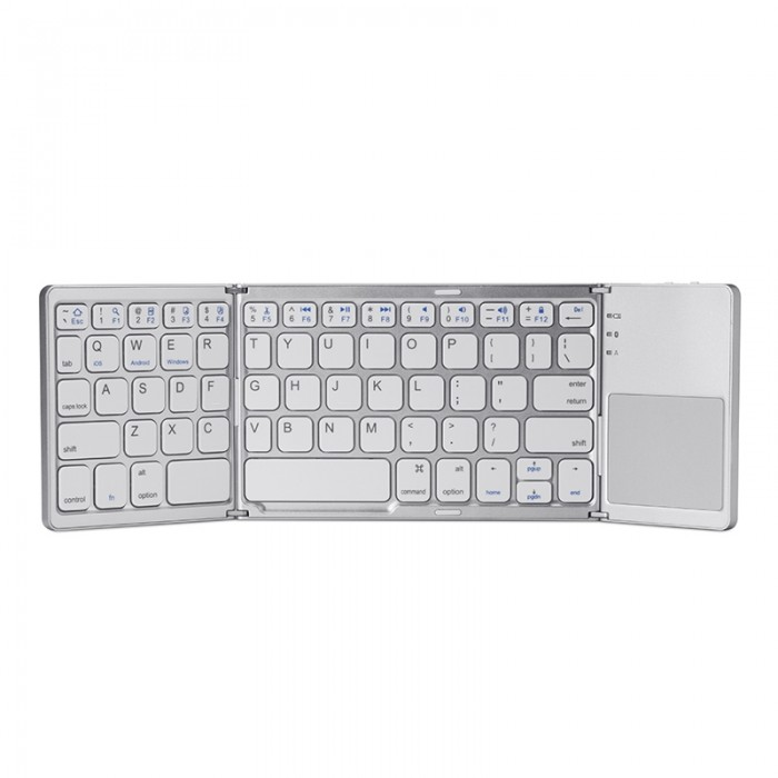 Foldable Wireless Keyboard Bluetooth Rechargeable BT Touchpad Keypad for IOS/Android/Windows ipad Tablet - Silver