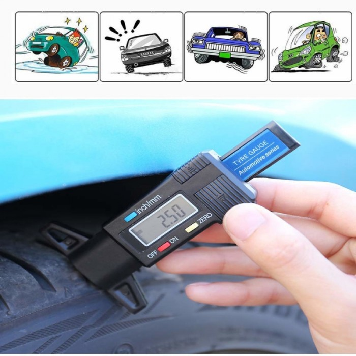 0-25.4mm Tire Thread Depth Gauge LCD Digital Measurer Tire Tester Tool for Cars Trucks Vans SUV