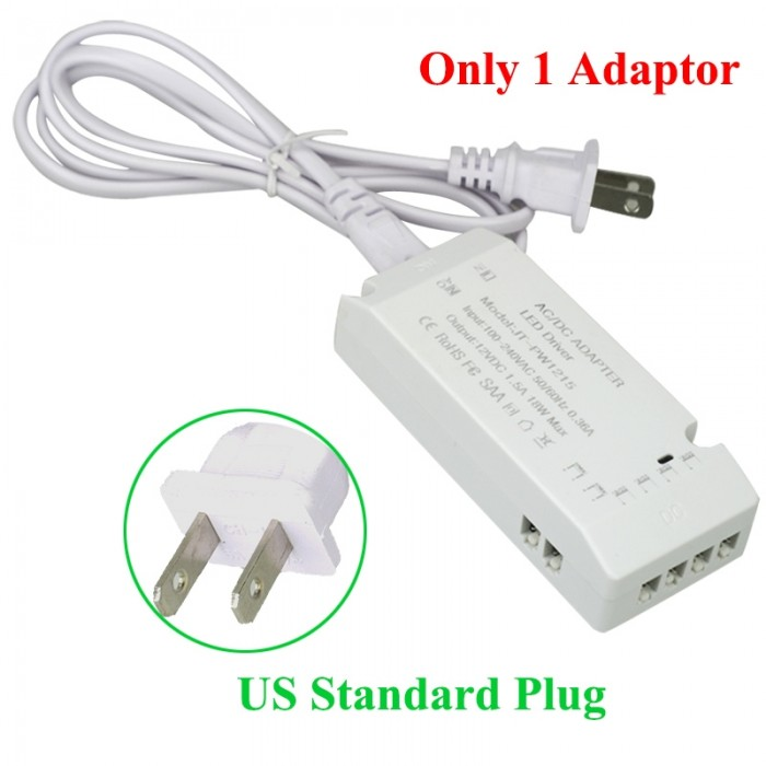 6 Wire Connection Port Power Adaptor for Cabinet Light - US Plug