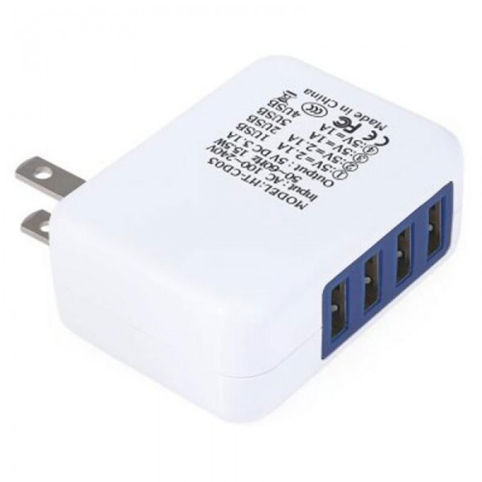4 USB Ports Universal Charger AC Power Socket - US Plug, White & Blue