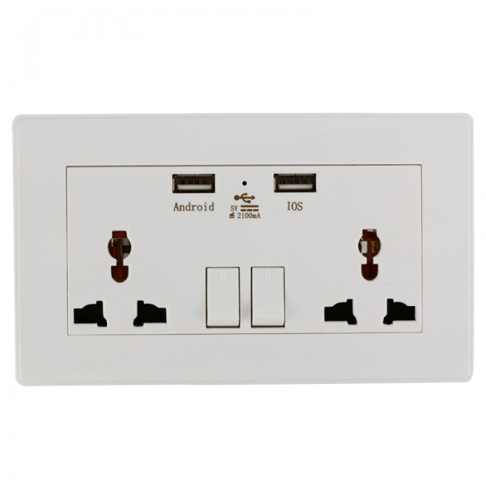 2100mA Universal Wall Charger Outlet Socket with Dual USB Ports White