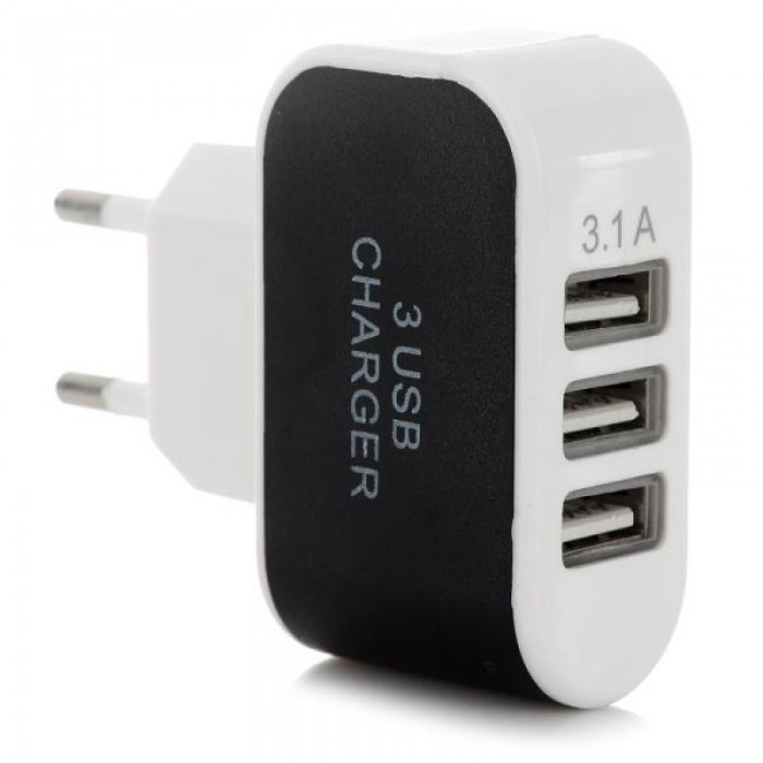 3 USB 2.0 Ports 5V 3.1A Wall Home Travel Smart Quick Charger EU Plug