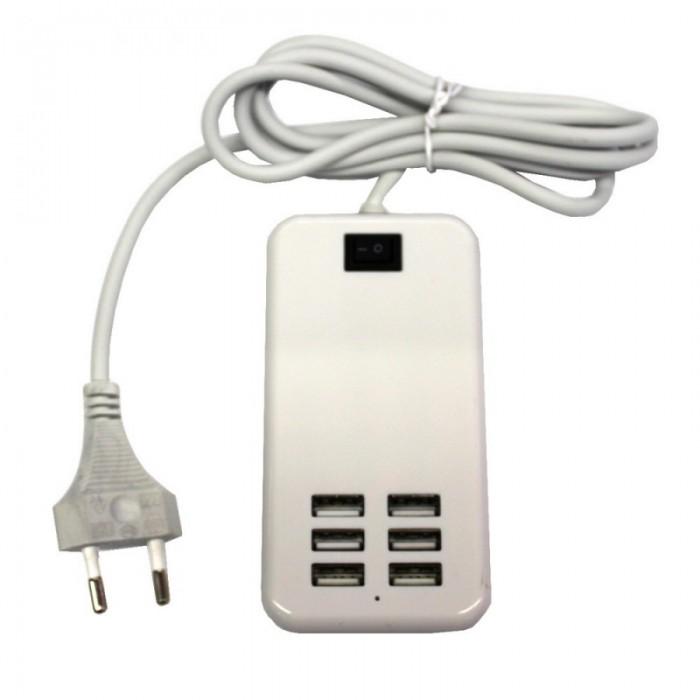 30W 6-USB 6A Portable Charger USB Socket EU Standard White