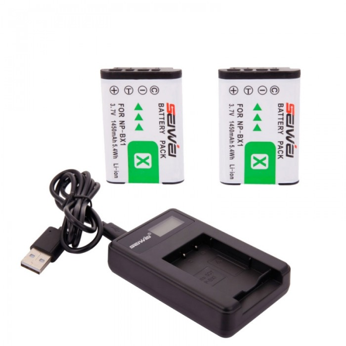 2pcs Seiwei Sony NP-BX1 3.7V 1450mAh Replacement Li-ion Battery with LCD Charger