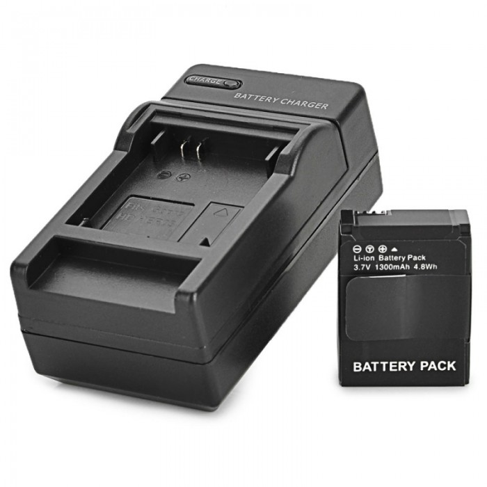 AHDBT-301 3.7V 1300mAh Replacement Decoding Battery + US Plug Charger for GoPro Hero 3/3 + Black