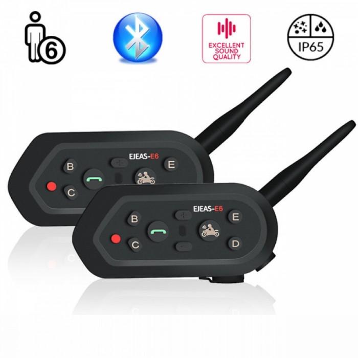 2pcs E6 Cascos Inalambrico Bluetooth Motorcycle Intercom Helmet VOX AUX Música GPS Handsfree Communication