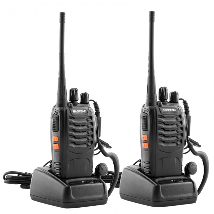 2pcs BaoFeng BF-888S 16CH 400-470MHz Handheld Walkie Talkie with 2 Earphones - 2800mAh Batteries